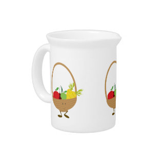 Smiling fruit and vegetable basket character pitcher