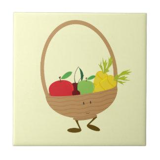 Smiling fruit and vegetable basket character ceramic tile