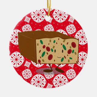 Smiling Fruitcake Ceramic Ornament