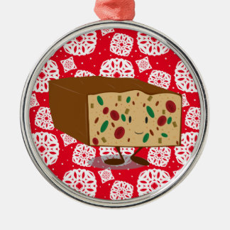 Smiling Fruitcake Metal Ornament