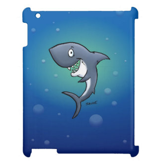 Smiling Funny Shark on Blue Background Cover For The iPad