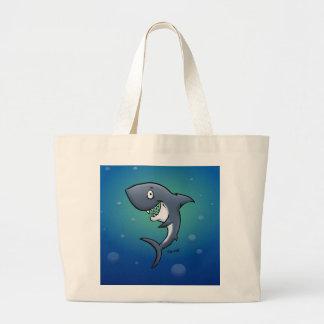 Smiling Funny Shark on Blue Background Large Tote Bag