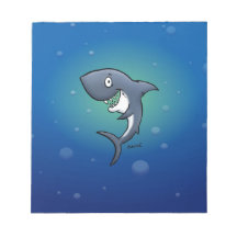 Smiling Funny Shark on Blue Background Memo Pads