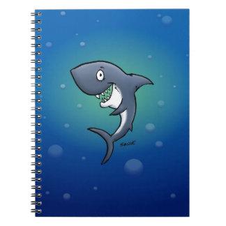 Smiling Funny Shark on Blue Background Notebook