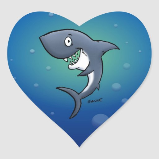 Smiling Funny Shark on Blue Background Heart Stickers