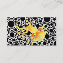 Smiling Gecko on black dots   your text Business Card