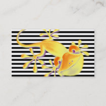 Smiling Gecko on black stripes   your text Business Card