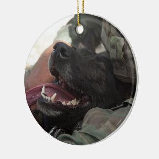 Smiling German Shepherd Military Dog Ceramic Ornament