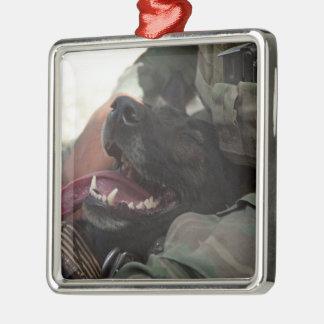 Smiling German Shepherd Military Dog Metal Ornament