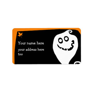 Smiling ghost Halloween address label