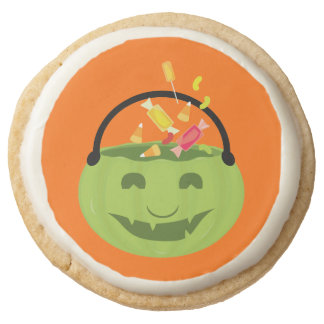 Smiling ghoul pail round shortbread cookie