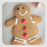 Smiling gingerbread man square sticker