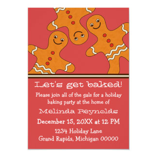 Smiling Gingerbread Men Christmas Party Invite