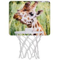 Smiling Giraffe, Animal Showing Its Teeth Mini Basketball Backboards