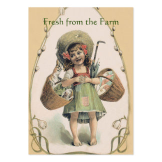 Smiling Girl Carrying Happy Rabbit - Vintage Farm Large Business Card
