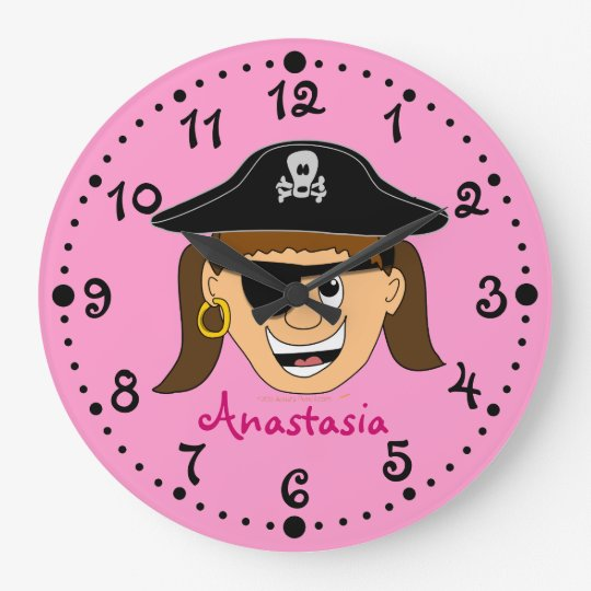 Smiling Girl Pirate Pink Personalized Name Clock