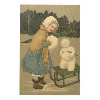Smiling Girl Snowman Sleigh Snow Woods Wood Wall Decor