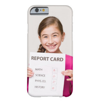 Smiling girl student proud of report card barely there iPhone 6 case