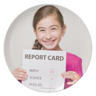 Smiling girl student proud of report card melamine plate