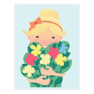 Smiling Girl With a Bouquet of Flower Postcard