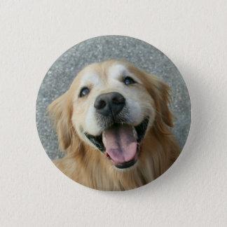 Smiling Golden Retriever Button