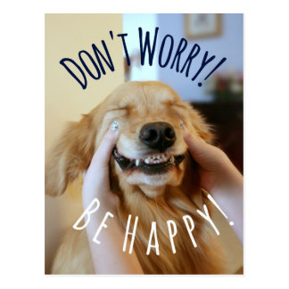 Smiling Golden Retriever Dog Don't Worry Be Happy Postcard