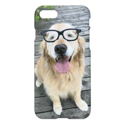 Smiling Golden Retriever Dog in Black Nerd Glasses iPhone 7 Case