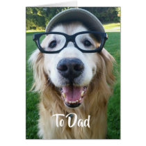 Smiling Golden Retriever Father's Day Card