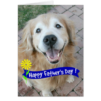 Smiling Golden Retriever Fathers Day Greeting Card