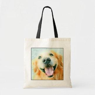 Smiling Golden Retriever in Watercolor Bags