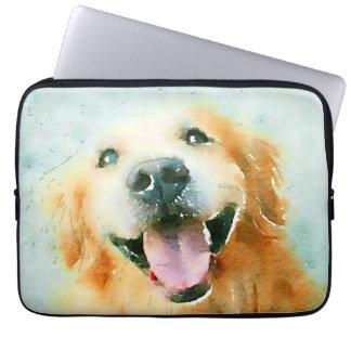 Smiling Golden Retriever in Watercolor Laptop Sleeves