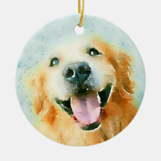 Smiling Golden Retriever in Watercolor Ornaments