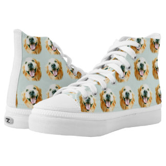 Smiling Golden Retriever in Watercolor Printed Shoes