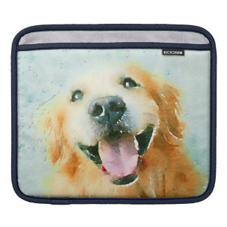 Smiling Golden Retriever in Watercolor Sleeve For iPads