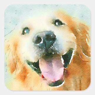 Smiling Golden Retriever in Watercolor Square Sticker