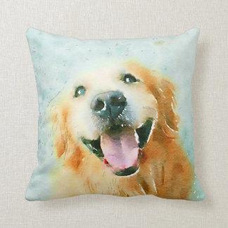 Smiling Golden Retriever in Watercolor Throw Pillow
