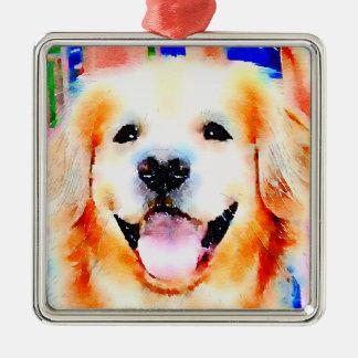 Smiling Golden Retriever Watercolor Portrait Square Metal Christmas Ornament