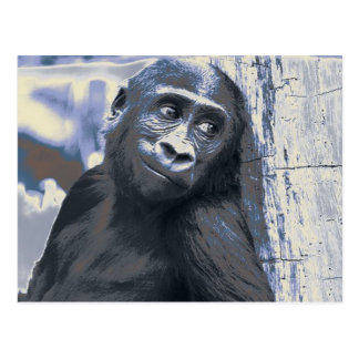 smiling gorilla baby blue postcard