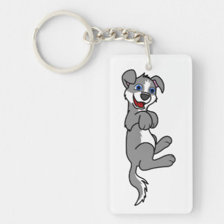 Smiling Gray Puppy Dog with Blaze Roll Over Keychain