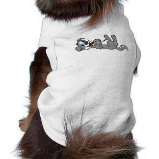 Smiling Gray Puppy Dog with Blaze Roll Over Tee