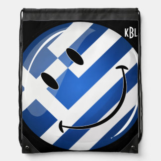 Smiling Greek Flag Drawstring Bag