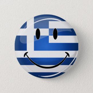 Smiling Greek Flag Pinback Button
