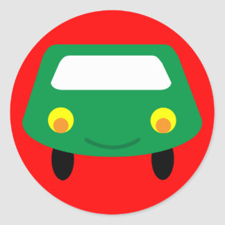 Smiling green cartoon car red stickers
