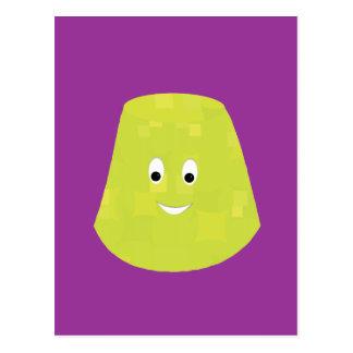 Smiling green gumdrop character postcard