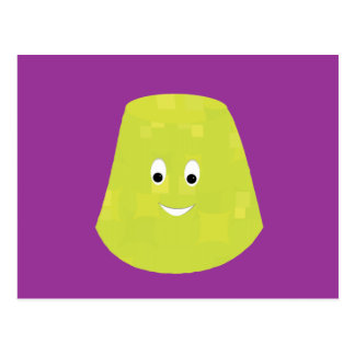 Smiling green gumdrop character post card