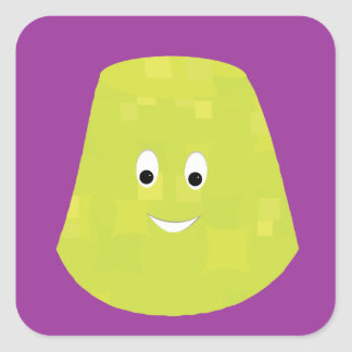 Smiling green gumdrop character square sticker