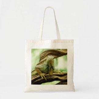 Smiling Green Iguana Canvas Bag