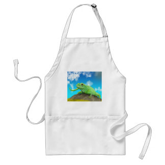Smiling Green Lizard on a Beautiful Bright Day Adult Apron