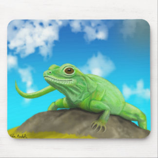 Smiling Green Lizard on a Beautiful Bright Day Mouse Pad