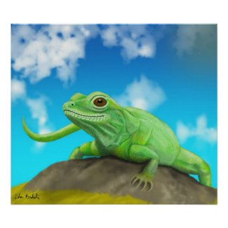 Smiling Green Lizard on a Beautiful Sunny Day Poster